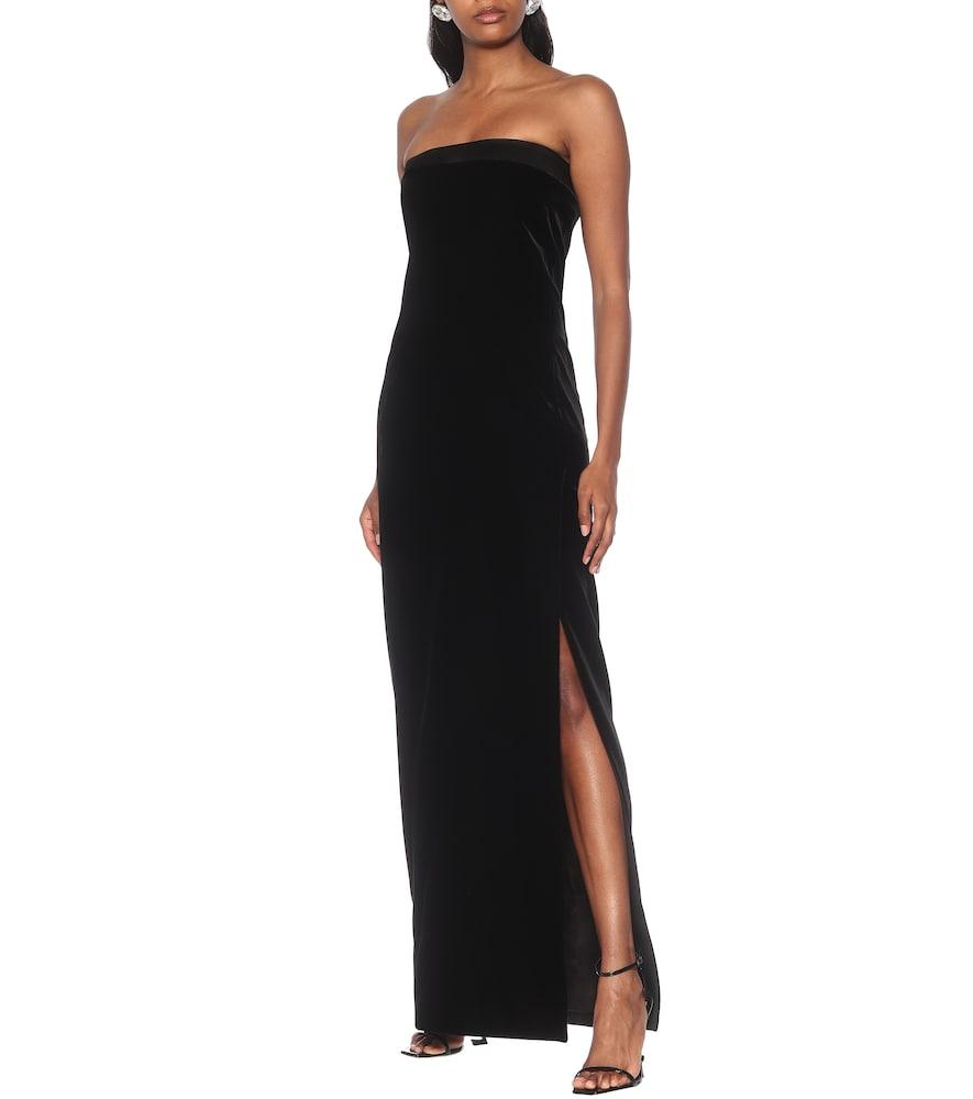 Strapless velvet gown by Saint Laurent