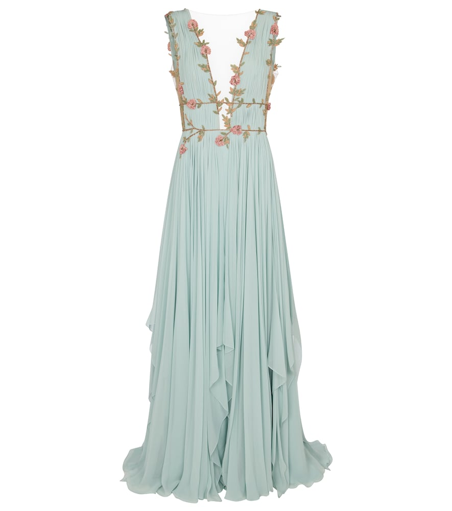 Costarellos Radella Floral Silk-blend Chiffon Gown In Green