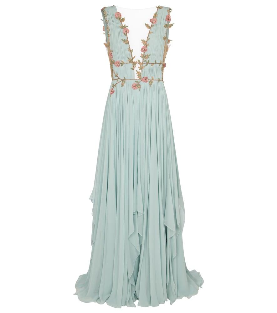 Costarellos Radella Floral Silk-blend Chiffon Gown In Blue
