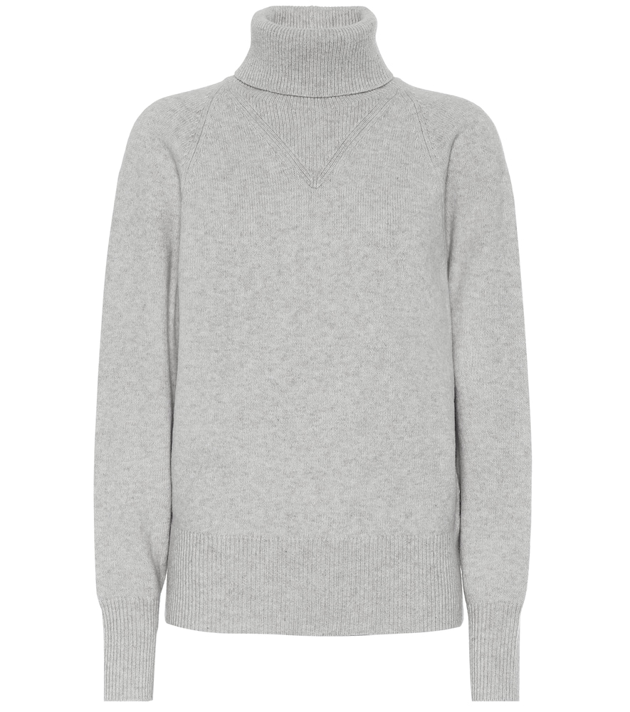 Joseph Ribbed Roll-Neck Wool-Blend Sweater In Grey