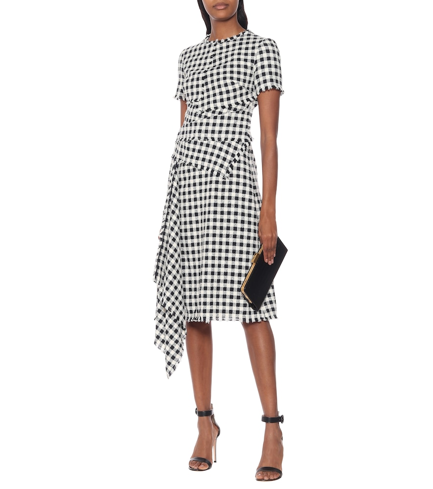 Checked tweed midi dress by Oscar de la Renta
