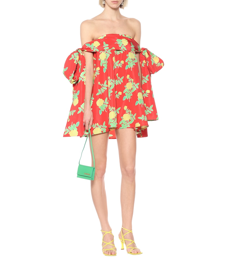 Holly off-shoulder floral satin minidress by Bernadette