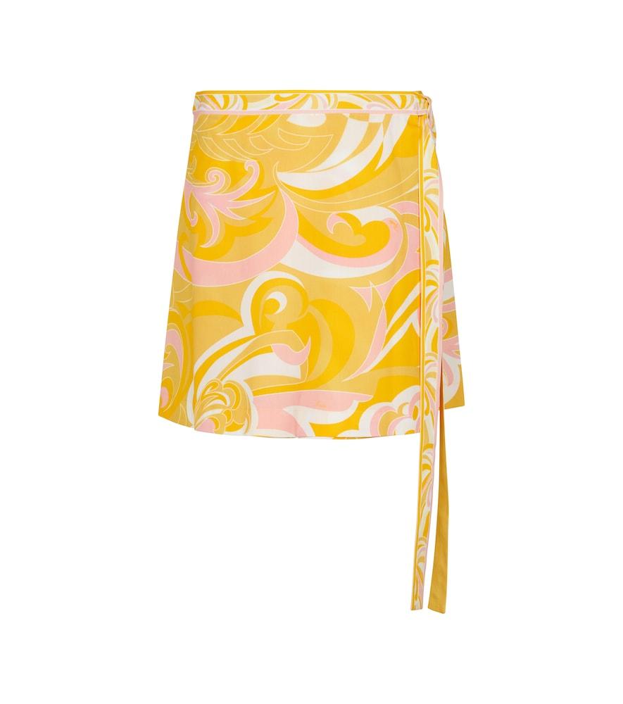 Printed cotton wrap skirt