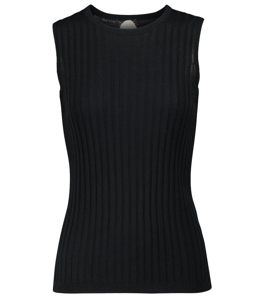 Ribbed-knit cotton and silk tank top