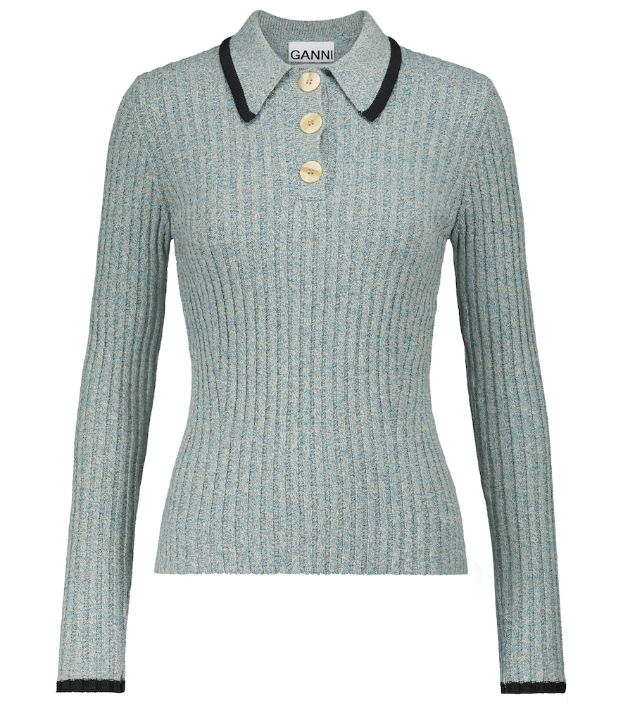Ganni Linens LINEN AND COTTON-BLEND POLO SWEATER