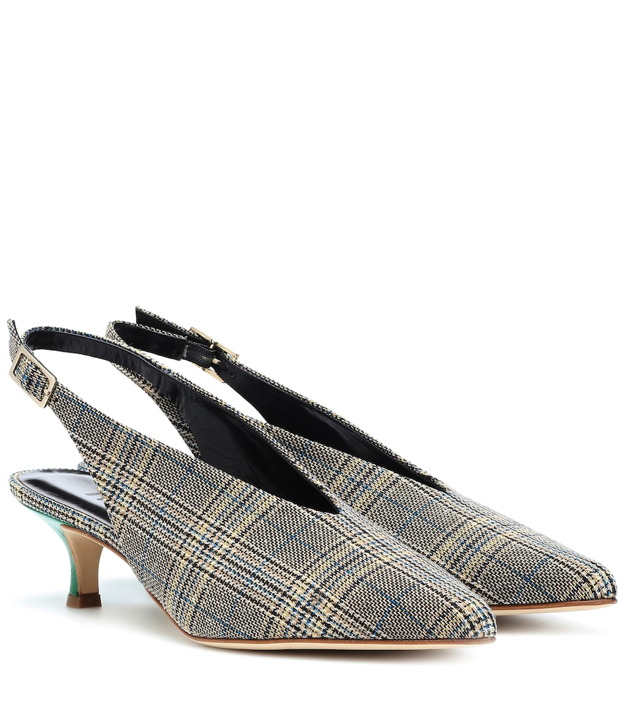 LIA PLAID KITTEN-HEEL PUMPS