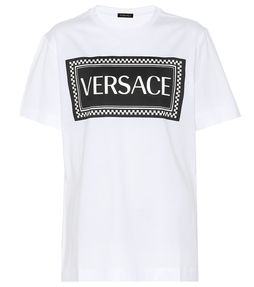 Logo And Check Print Cotton T-Shirt  in White