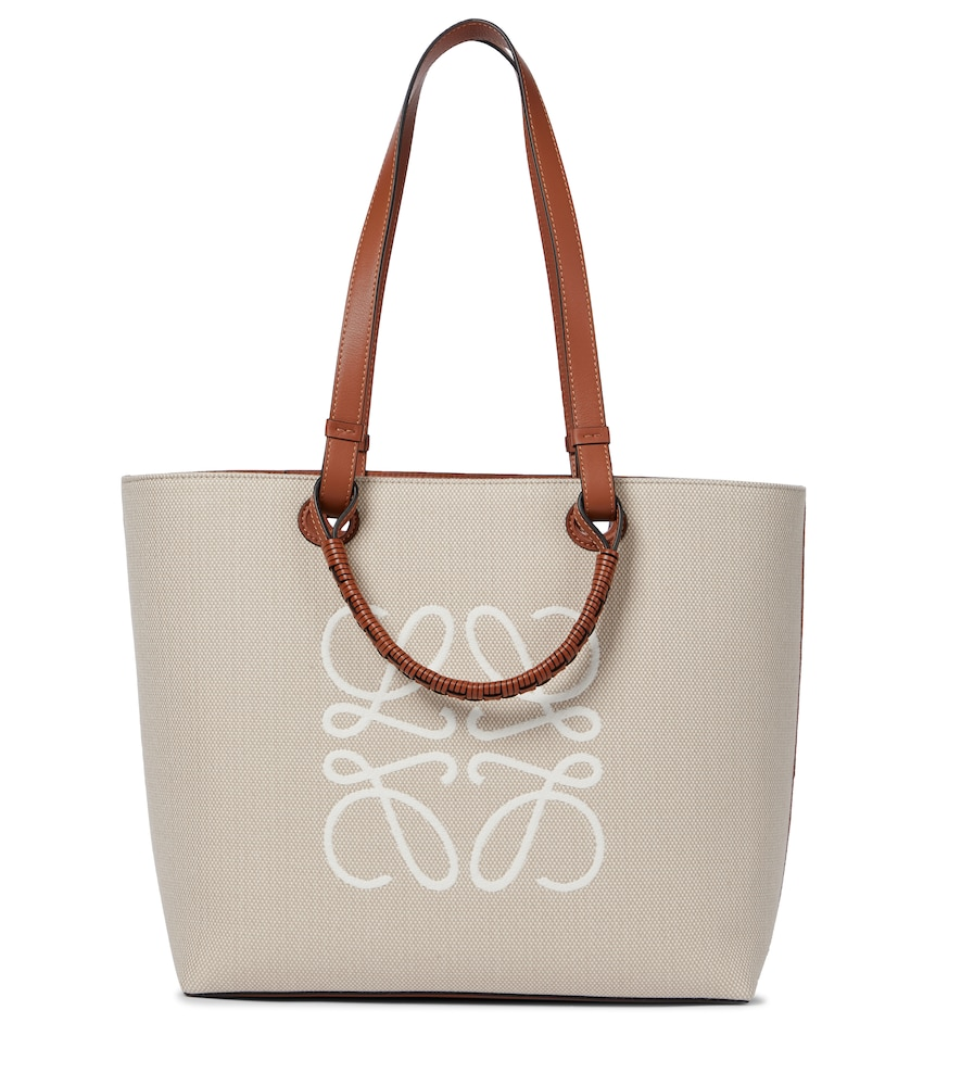 Anagram leather-trimmed canvas tote