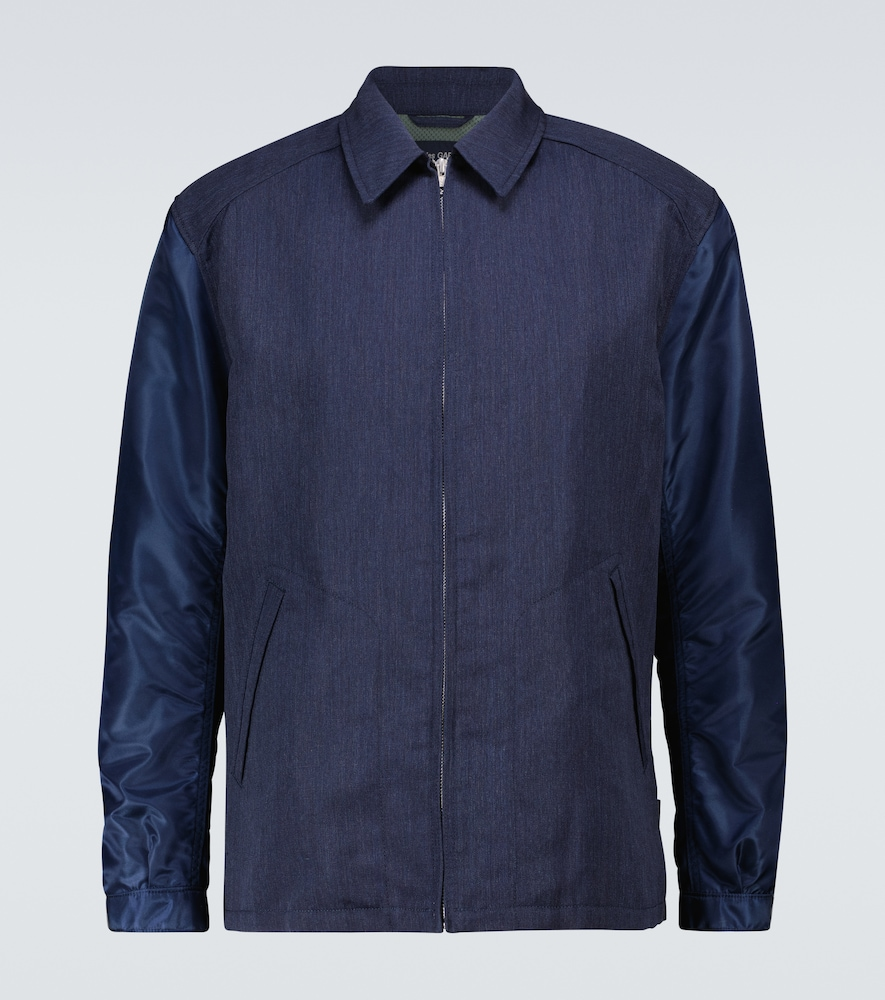Wool jacket with technical sleeves