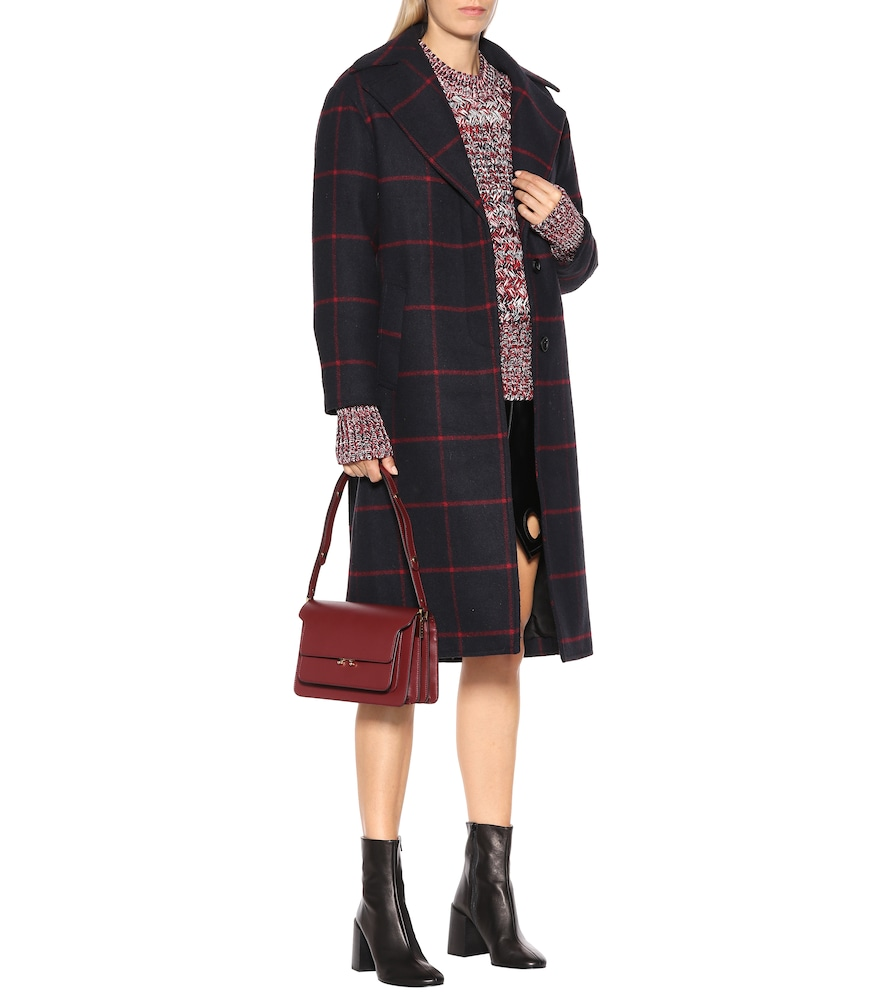 Checked wool-blend coat by Self-Portrait