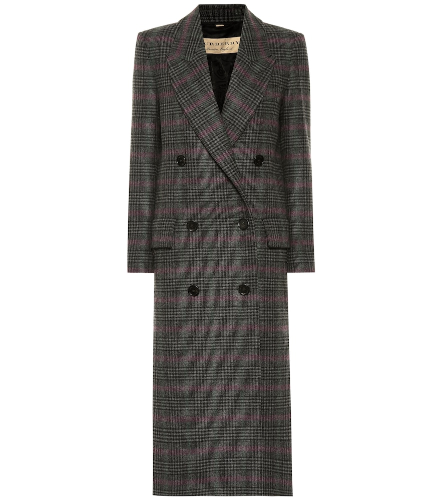 Eleganter Mantel Aus Wolle Mit Prince Of Wales Check-Muster in Grey