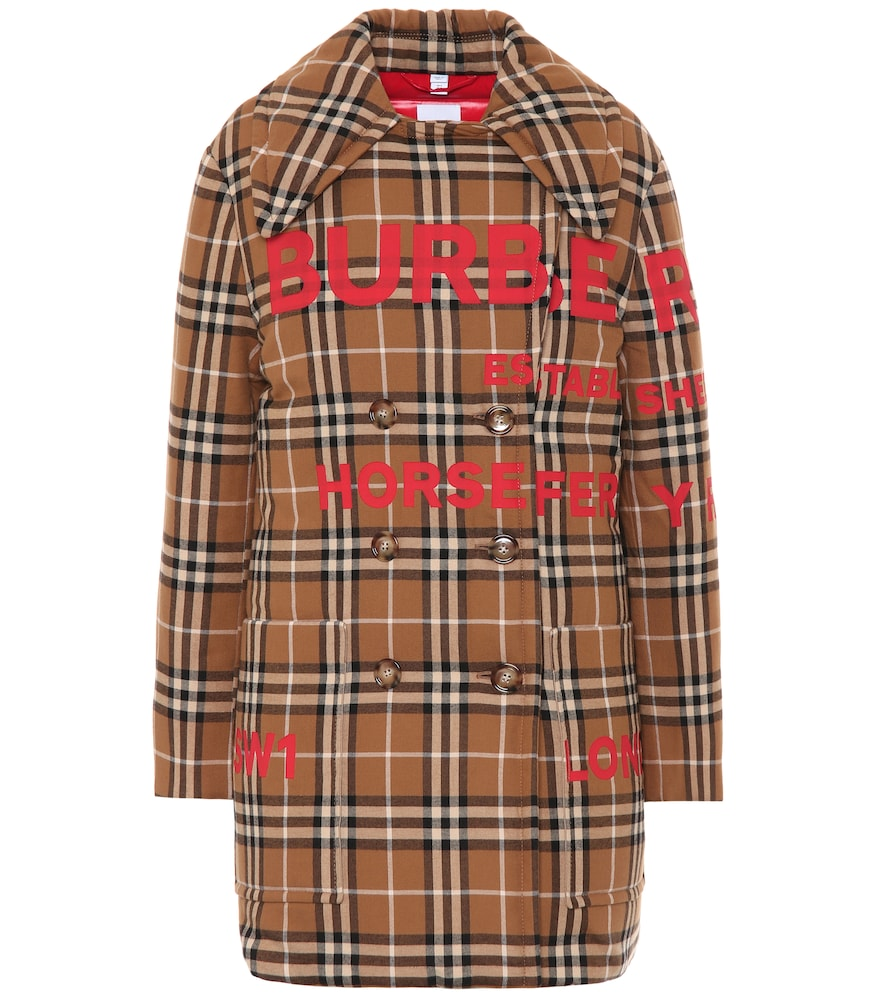 Check cotton down coat by Burberry