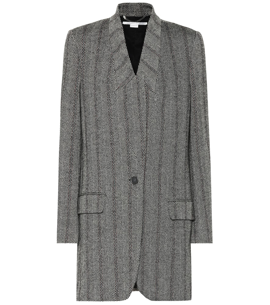 Bryce Herringbone Wool-Blend Coat in Black