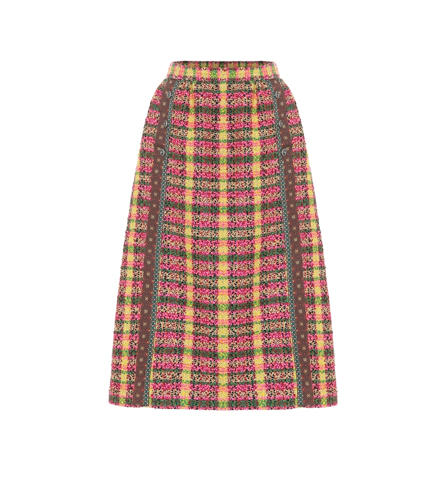 Tweed wool midi skirt