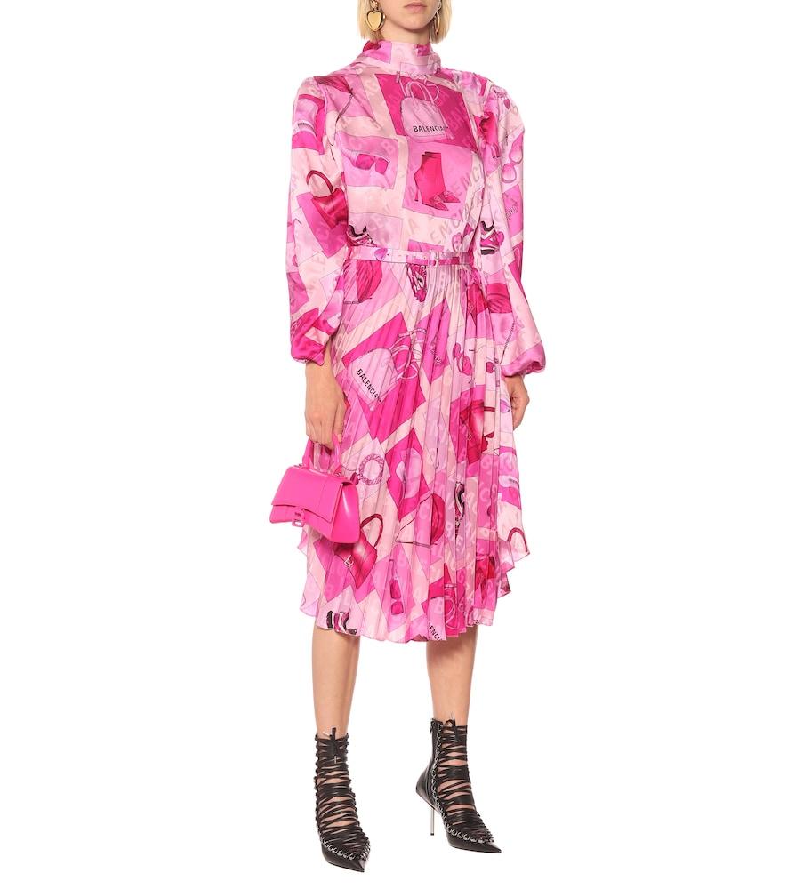 Twisted printed cr?e midi dress by Balenciaga