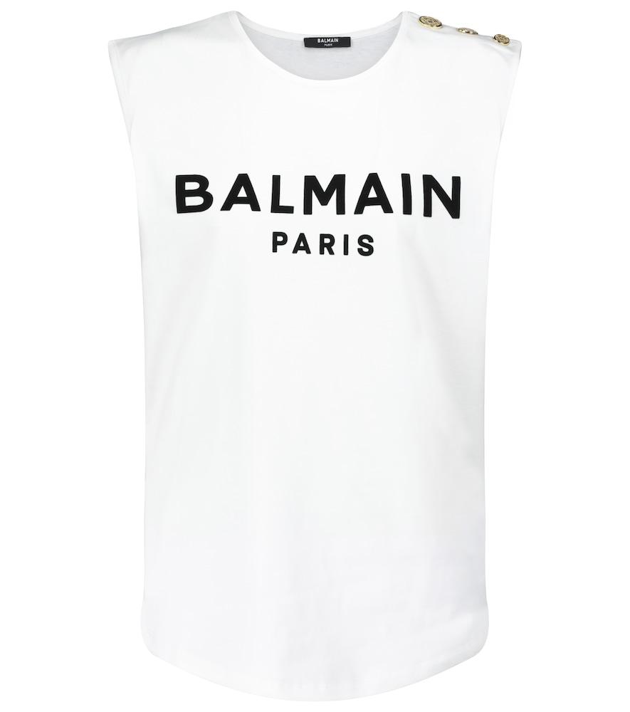 Balmain Cottons LOGO COTTON TANK TOP