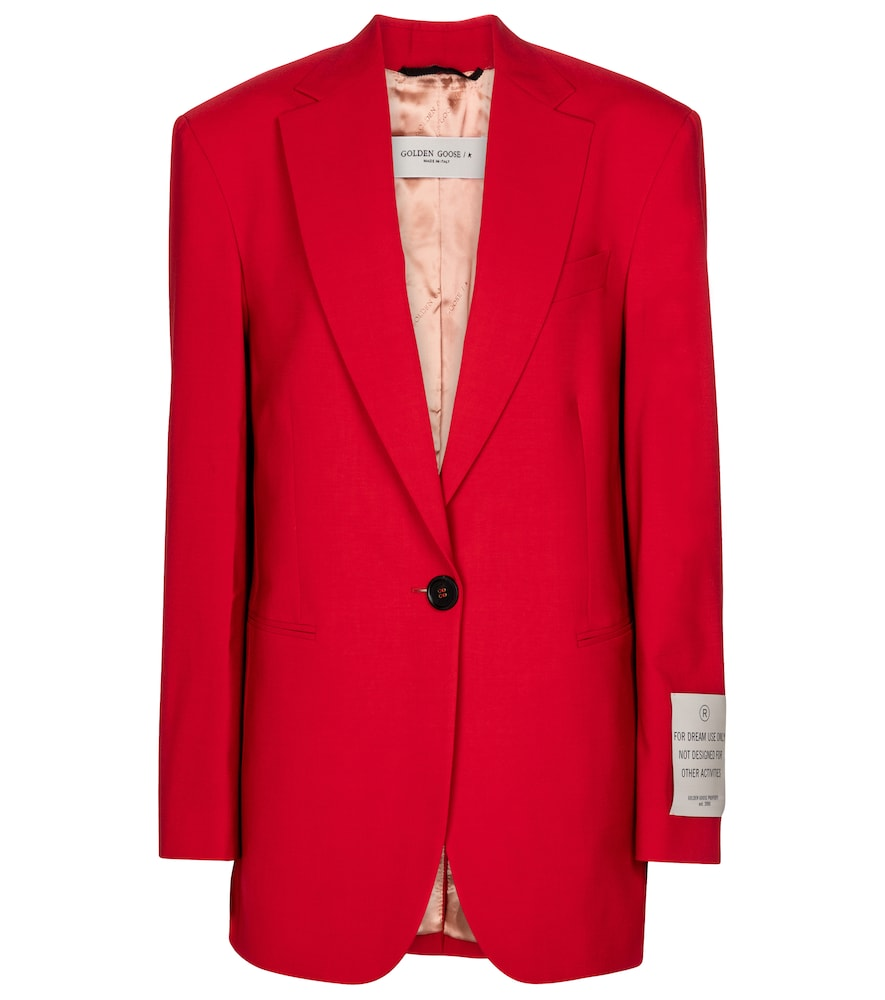 Golden Goose Wool Blend Single Breasted Blazer In Red