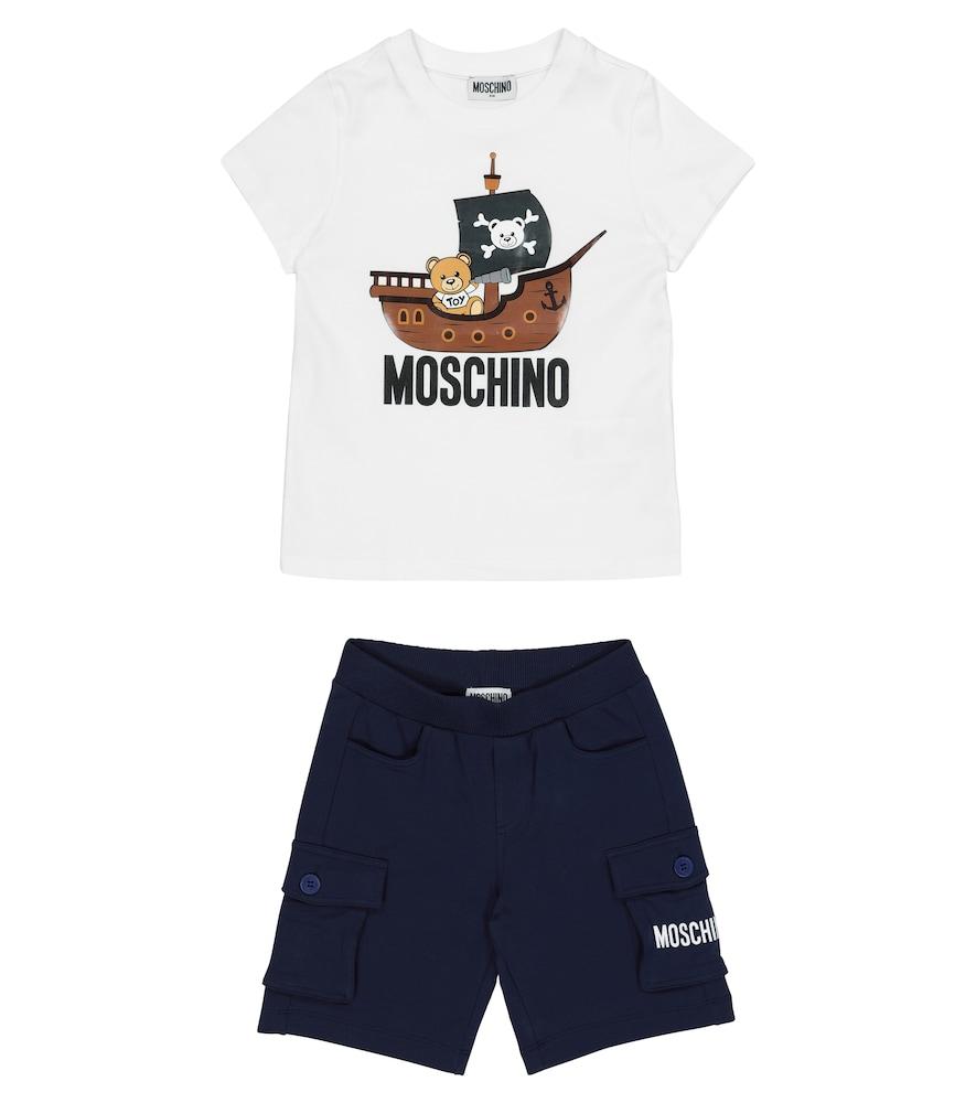 Moschino LOGO STRETCH-COTTON T-SHIRT AND SHORTS SET