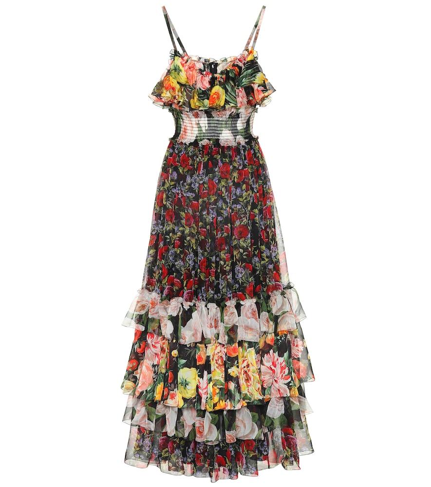 Dolce & Gabbana Floral-Print Tiered Silk-Chiffon Gown In Black