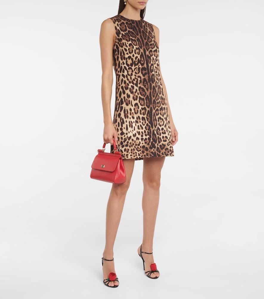Leopard-print silk-cady minidress by Dolce & Gabbana