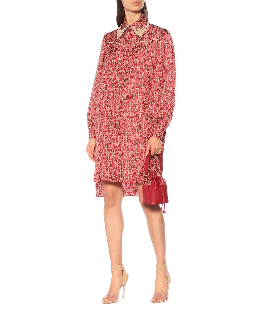 Printed silk-twill shirt dress by Fendi