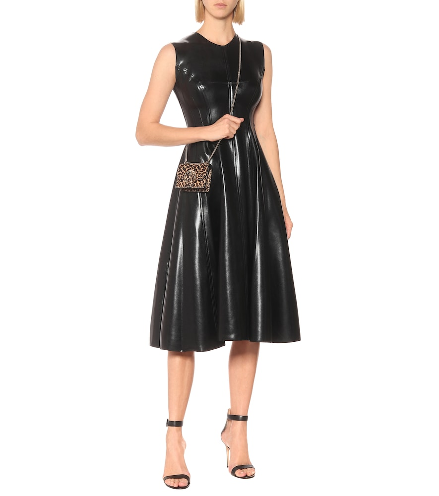 Grace faux-leather midi dress by Norma Kamali