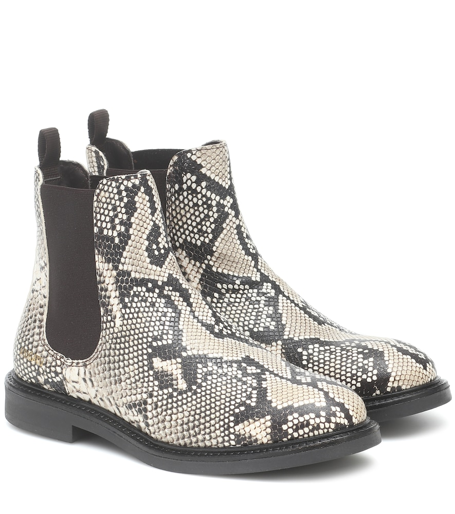Snake-effect leather Chelsea boots