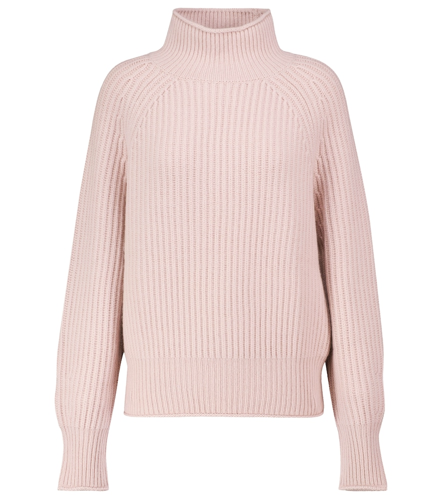 Ribbed-knit cashmere turtleneck sweater
