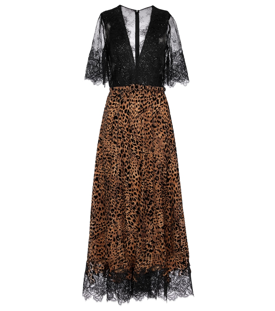 Sequined floral-lace midi dress