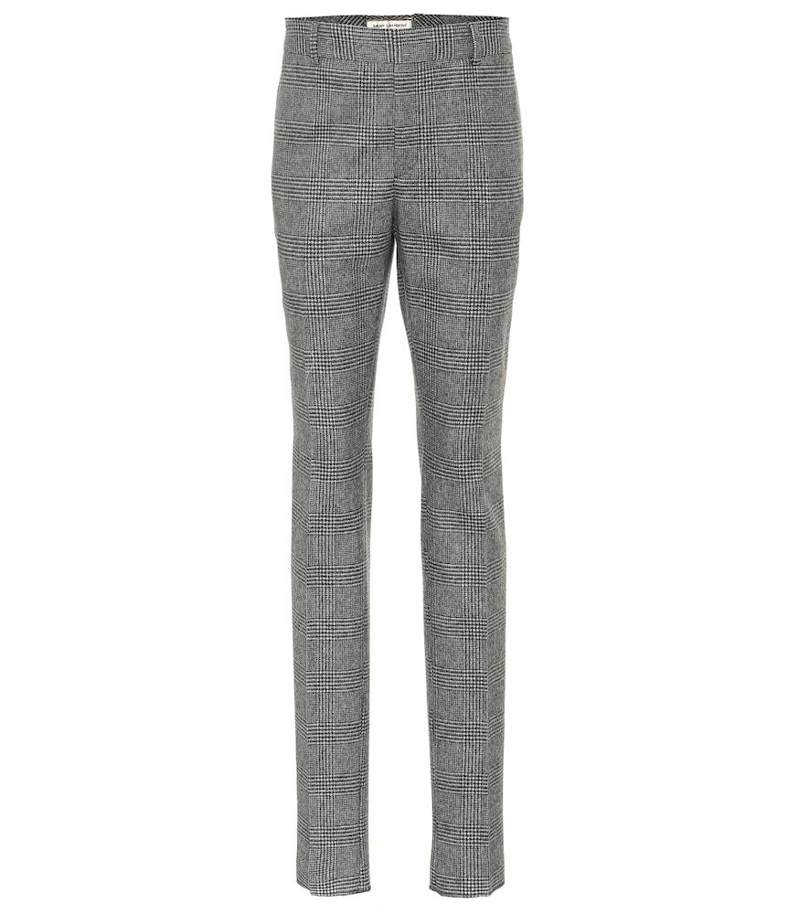 GLEN PLAID WOOL PANTS