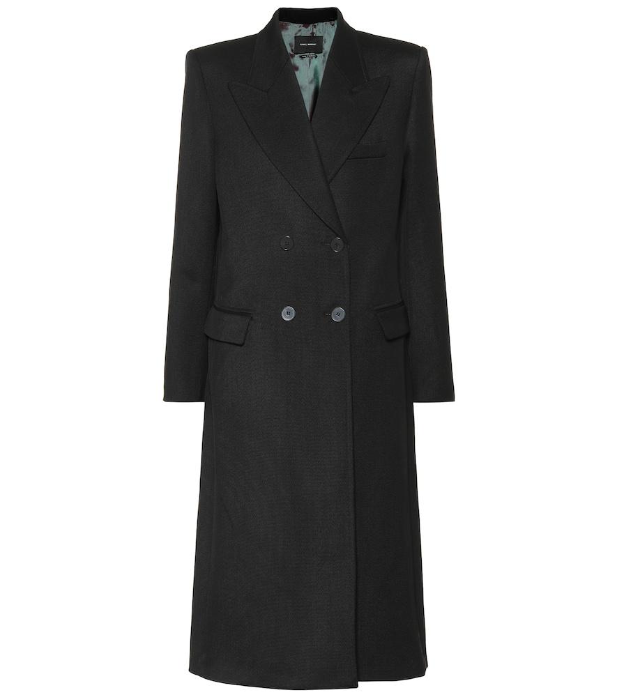 Joleen Double-Breasted Wool-Gabardine Coat in Black