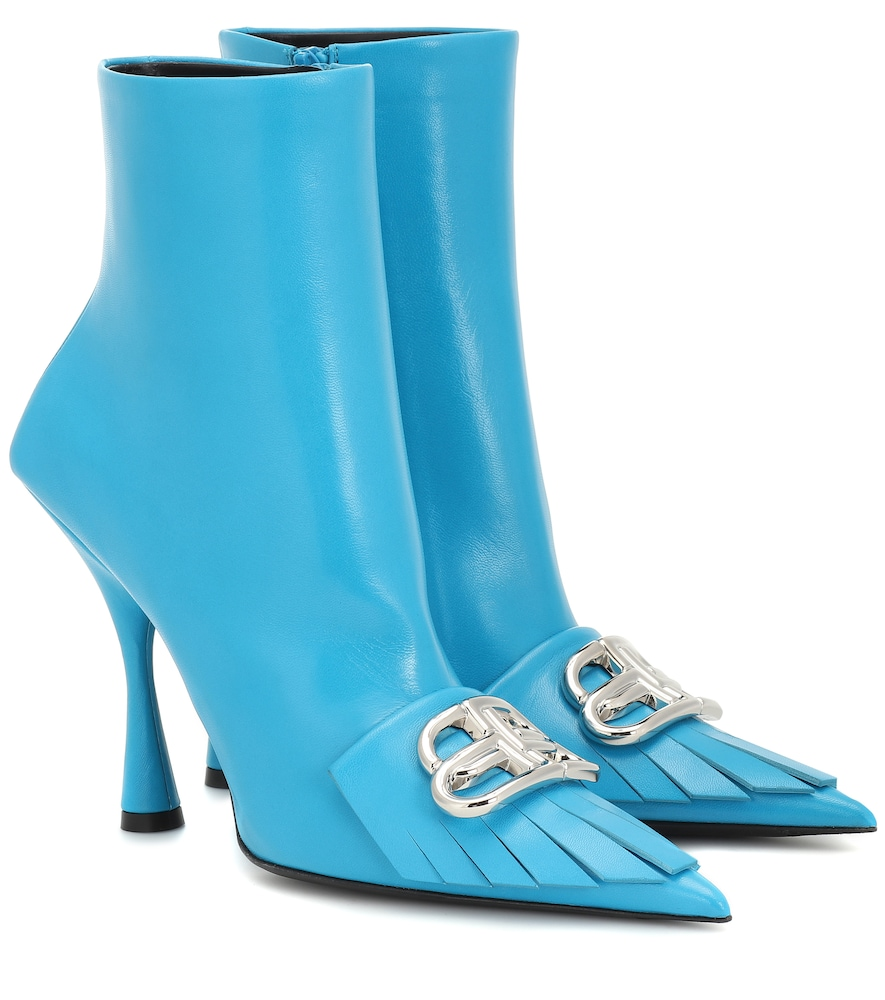 Balenciaga Fringe Knife Leather Ankle Boots In Blue