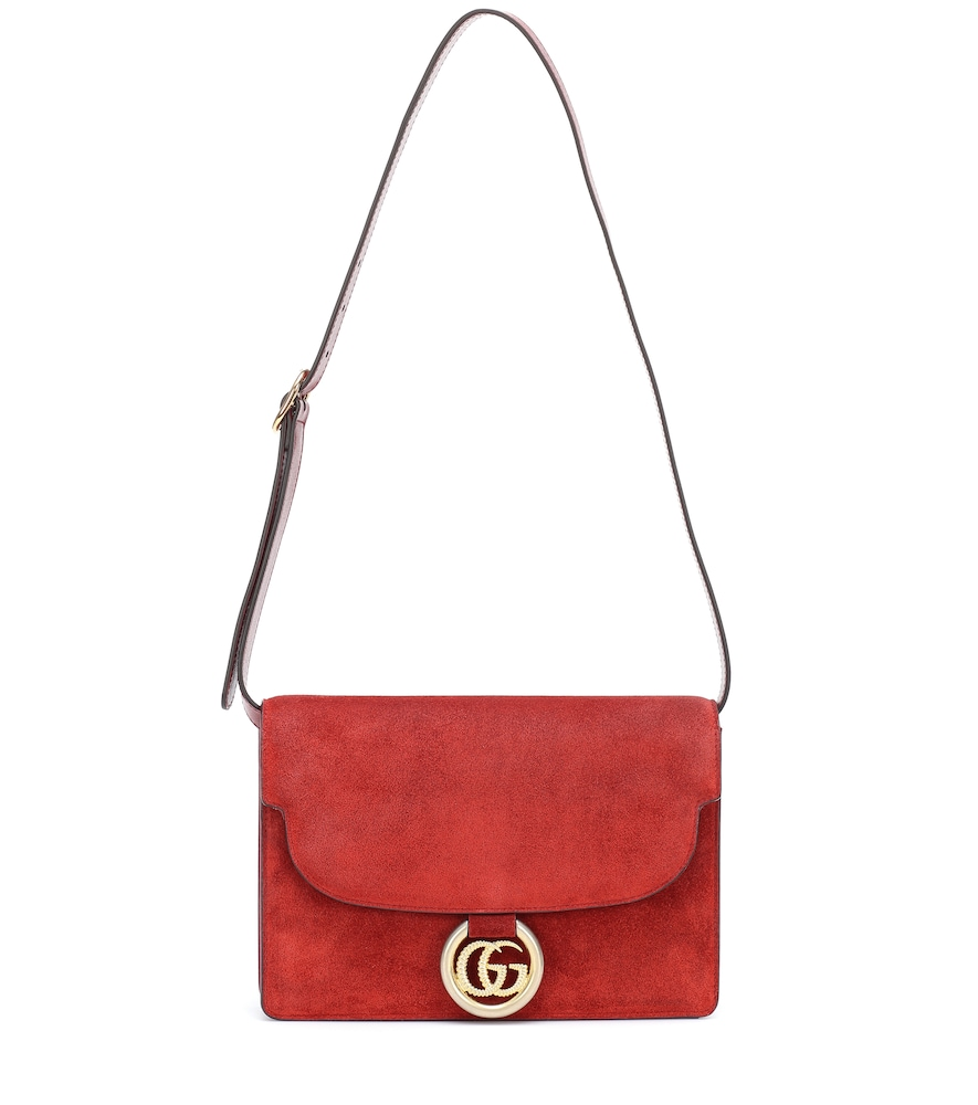 GG Ring Small suede shoulder bag