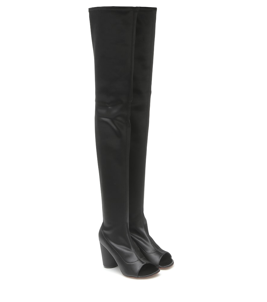 Cut-out over-the-knee leather boots