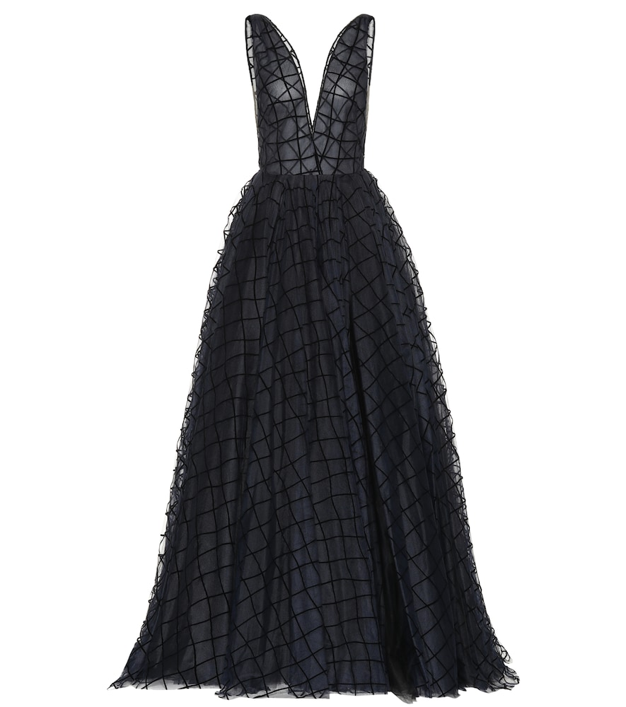 GRID-TEXTURED GOWN