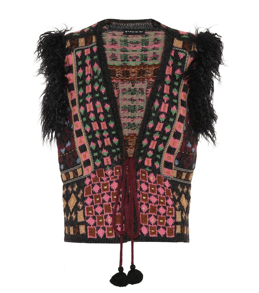 Faux Fur-Trimmed Jacquard-Knit Vest in Black