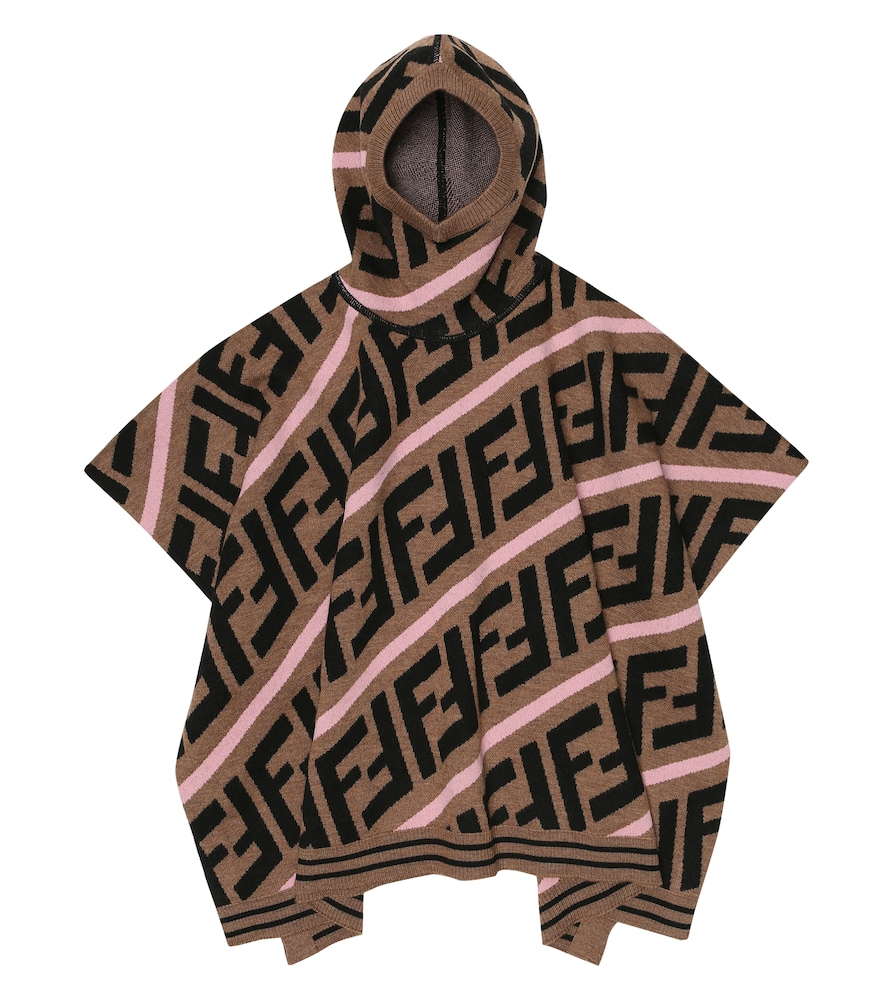 Fendi FF HOODED WOOL-BLEND CAPE