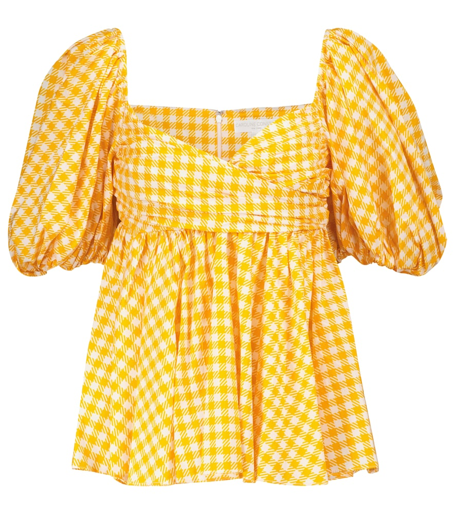 Brie checked cotton-blend top