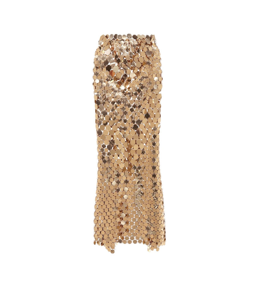Paco Rabanne Metallic Paillette Maxi Skirt In Gold