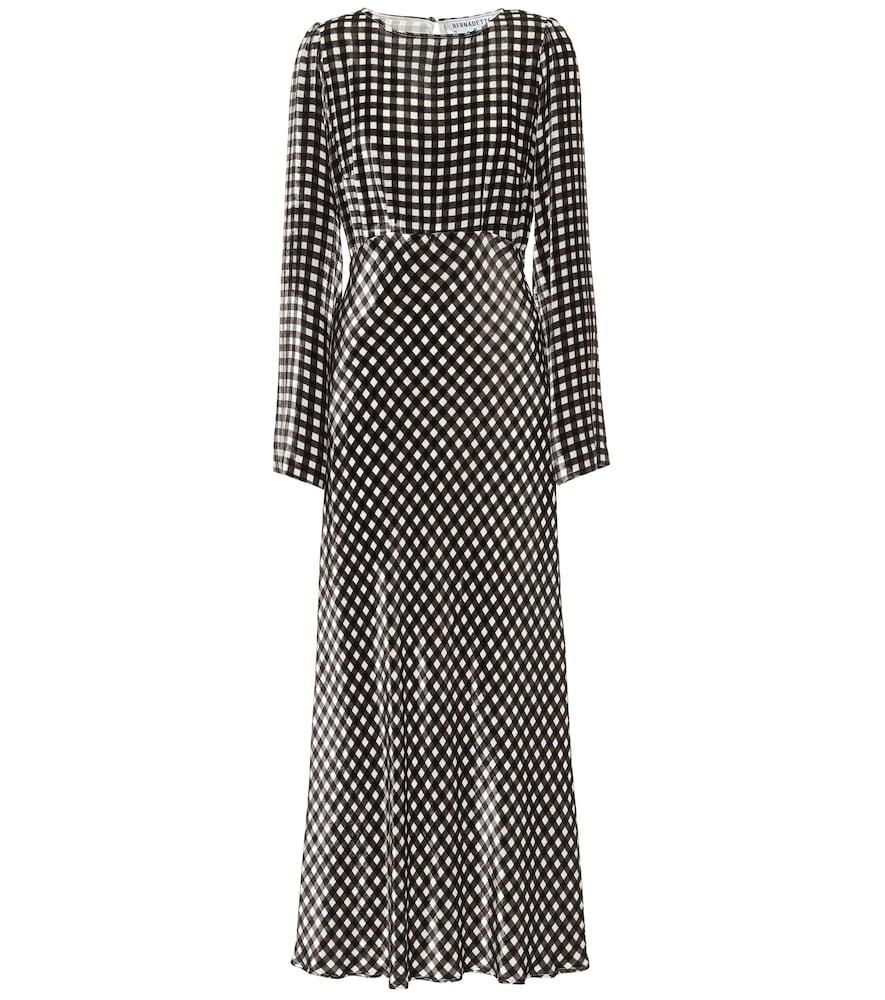Jane gingham velvet midi dress