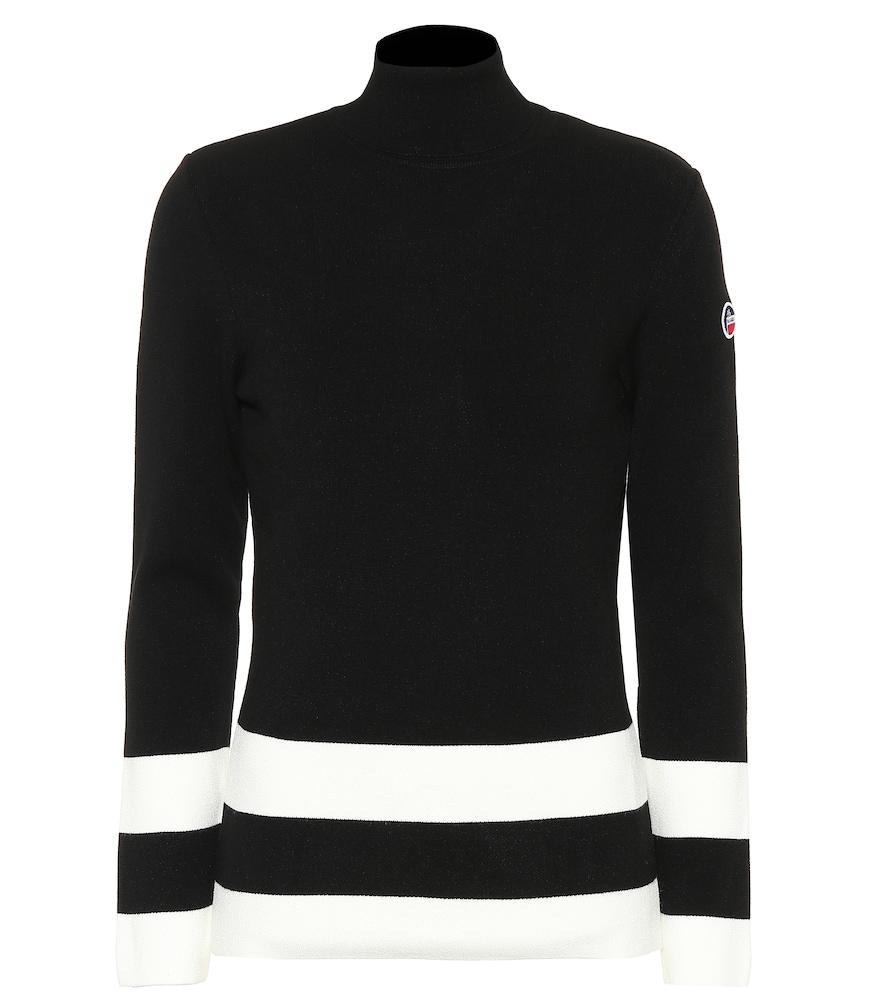 FUSALP Ubac Striped Turtleneck Sweater in Black