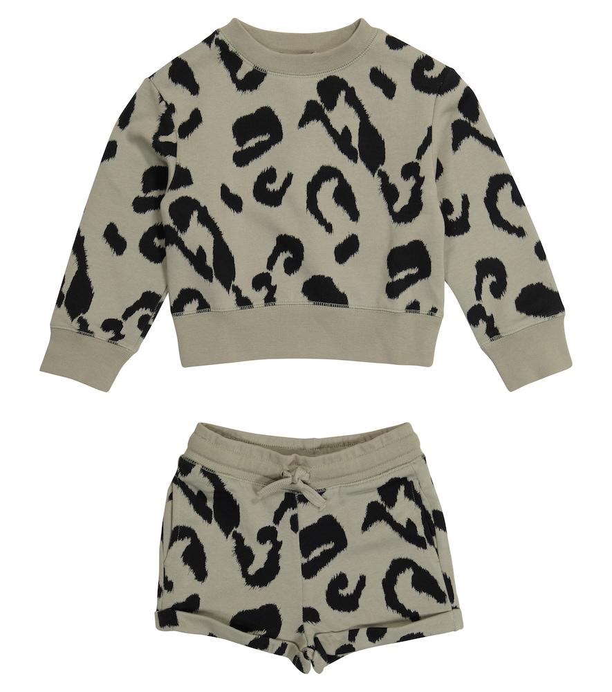 Stella Mccartney Clothing LEOPARD-PRINT SWEATSHIRT AND SHORTS SET