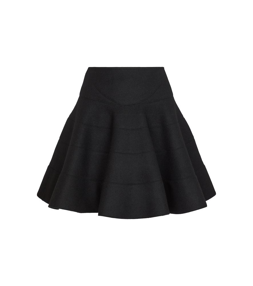Alaïa Wool-blend Tiered Mini Skirt In Black