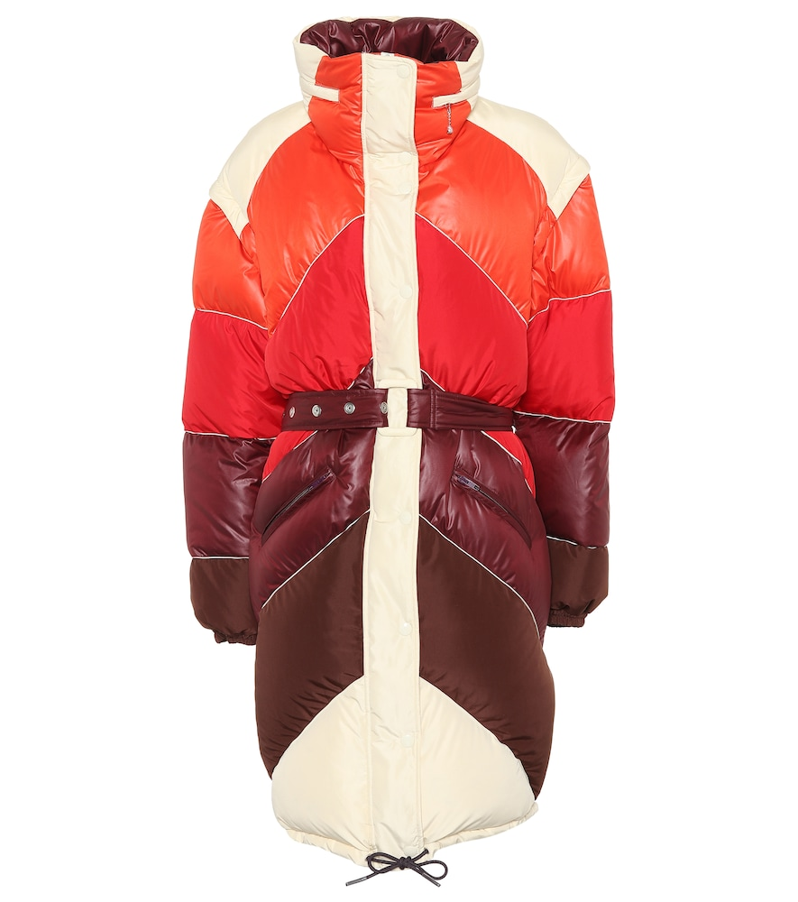 Red Multi-Polyester Long Down Jacket
