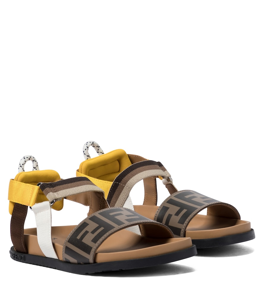 Fendi Leathers FF LEATHER AND CANVAS SANDALS