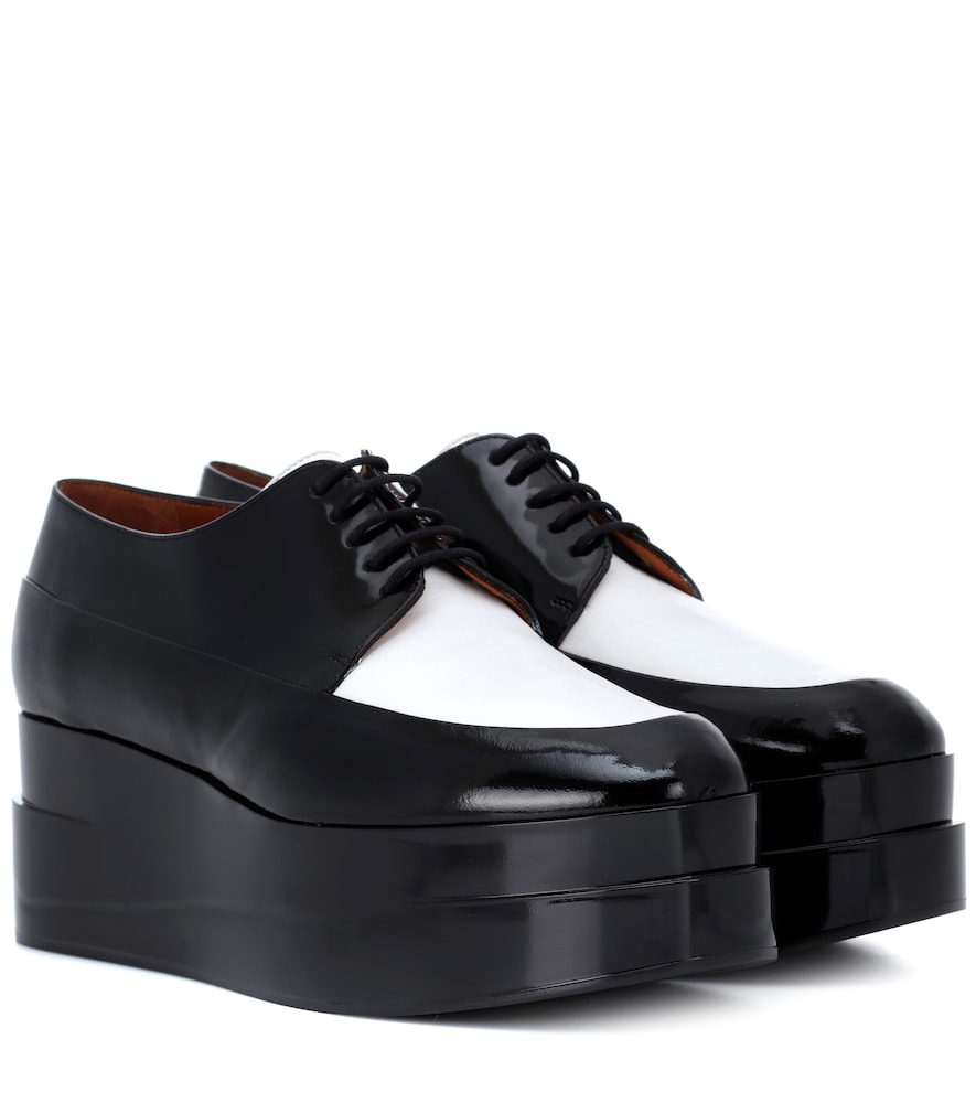 Lucie Leather Platform Derby Shoes in Black