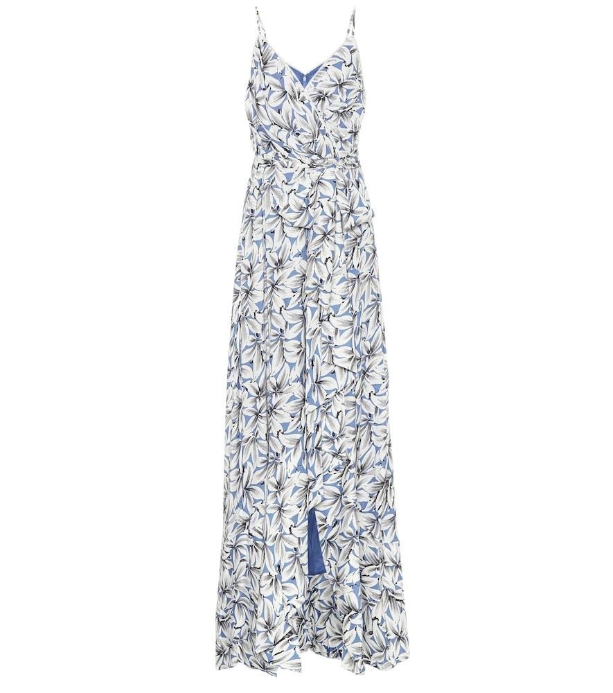 Robe longue Ava en lin mélangé à fleurs