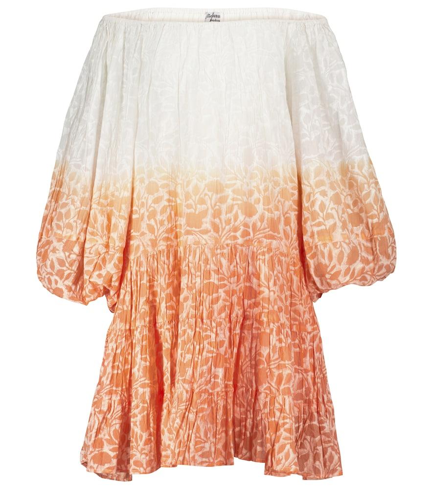 Floral cotton off-shoulder minidress