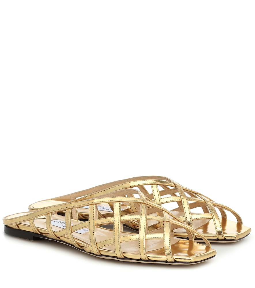 Mules Sai Flat en cuir métallisé - Jimmy Choo - Modalova