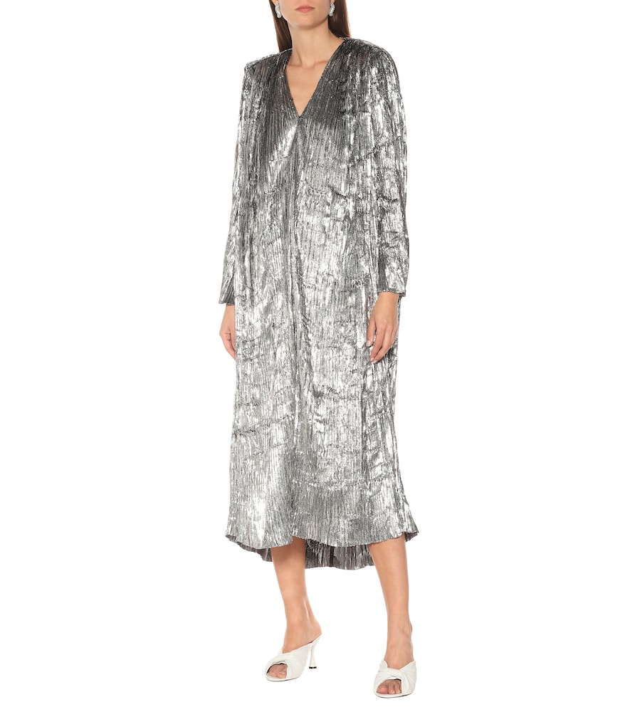 Pleated silk metallic midi dress by Balenciaga